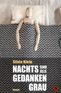 """Cover """"Nachts sind alle Gedanken grau"""" (Zeichnerpuppe in einem Bett)"""